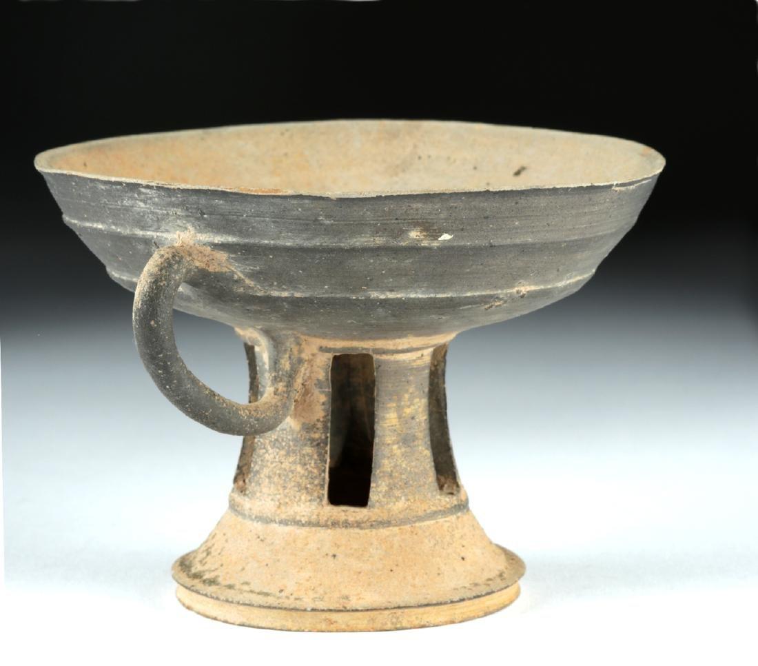 6th C. Korean Silla Dynasty Blackware Footed Dish - 3