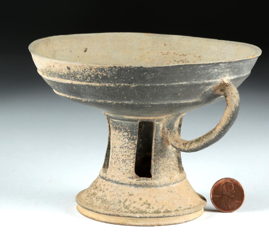 6th C. Korean Silla Dynasty Blackware Footed Dish - 4