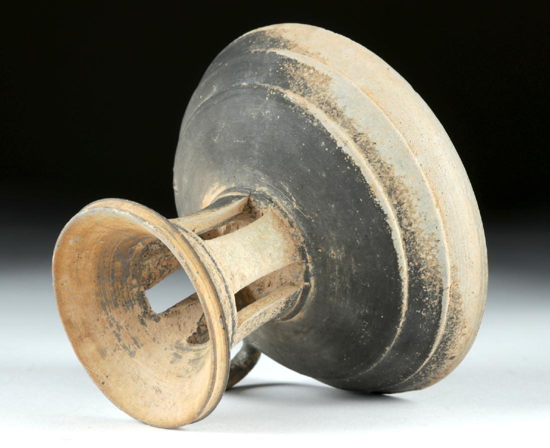 6th C. Korean Silla Dynasty Blackware Footed Dish - 5