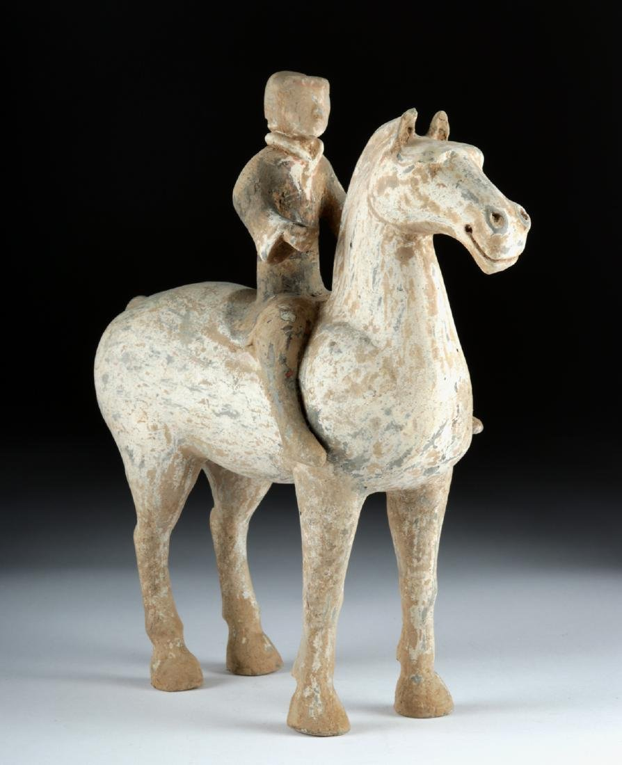 Chinese Han Dynasty Pottery Horse and Rider