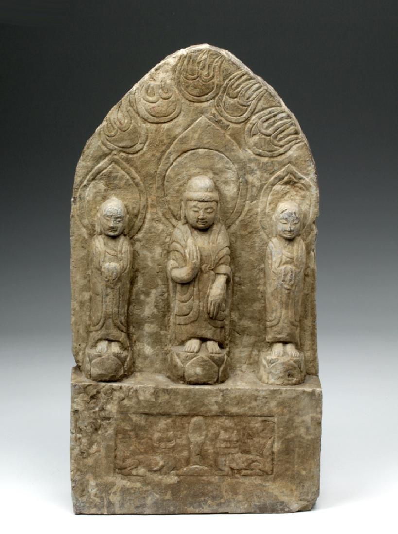 Chinese Ming Dynasty Stone Panel w/ Buddha