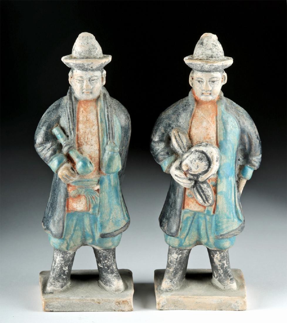 Chinese Ming Dynasty Glazed Pottery Attendants (2)