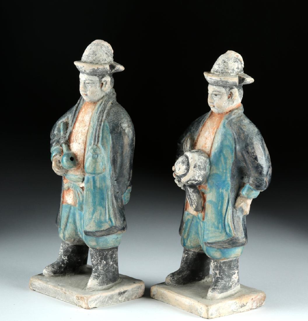Chinese Ming Dynasty Glazed Pottery Attendants (2) - 2