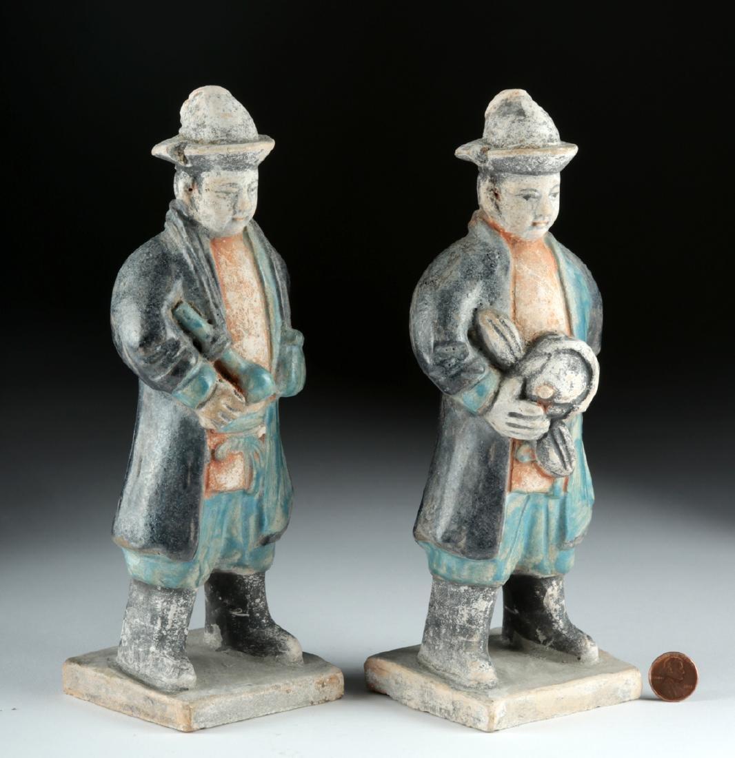 Chinese Ming Dynasty Glazed Pottery Attendants (2) - 5