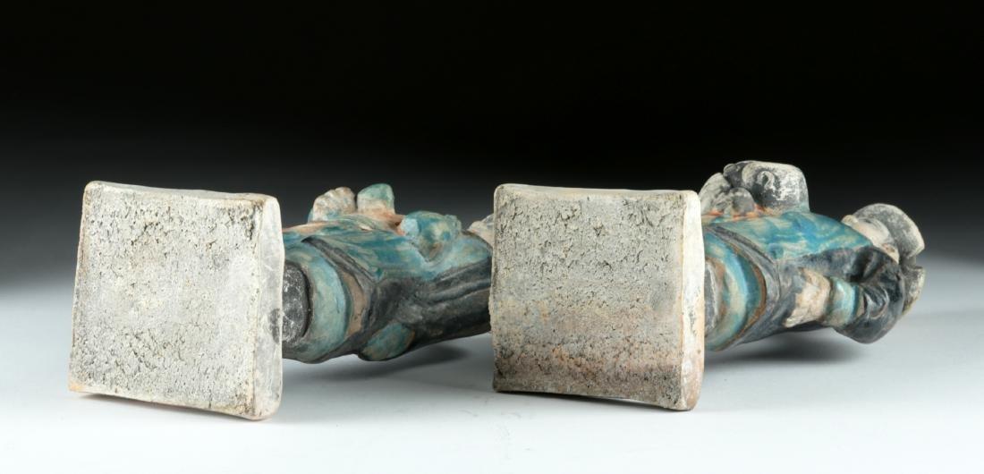 Chinese Ming Dynasty Glazed Pottery Attendants (2) - 6