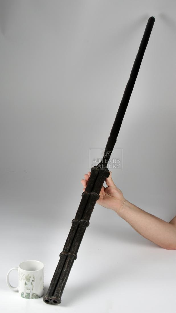 17th C. Chinese Iron / Wood Hand Twin-Barrel Cannon - 3