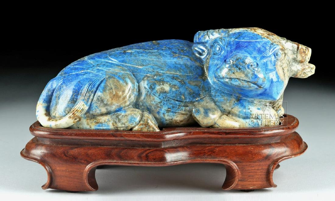Chinese Qing Dynasty Lapis Lazuli Bull - 2
