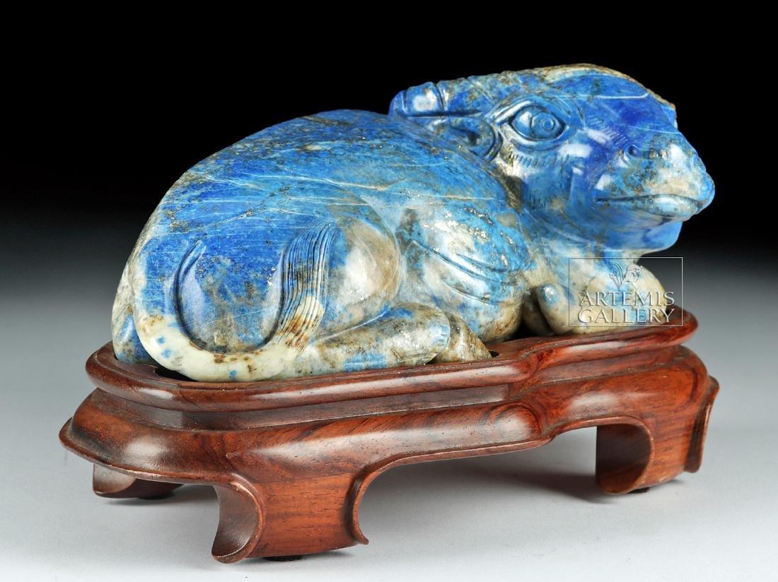Chinese Qing Dynasty Lapis Lazuli Bull - 3
