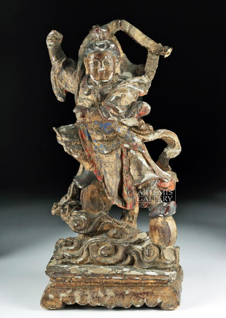 19th C. Chinese Qing Dynasty Wood Carving of God of War