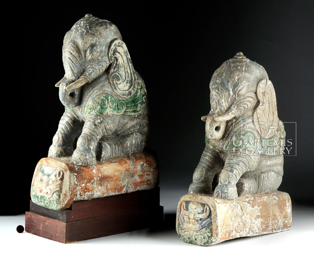 Rare 19th C. Chinese Wooden Roof Tiles (pr) - Elephants