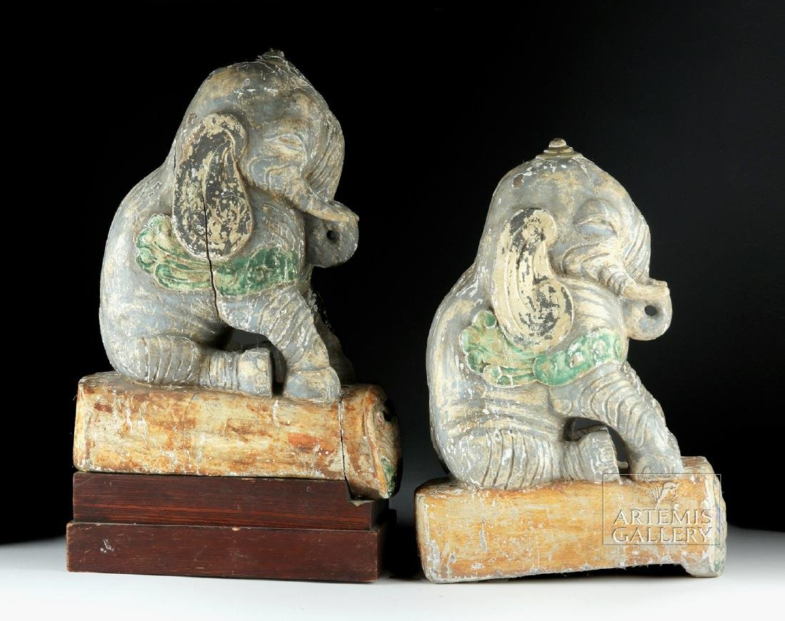 Rare 19th C. Chinese Wooden Roof Tiles (pr) - Elephants - 5