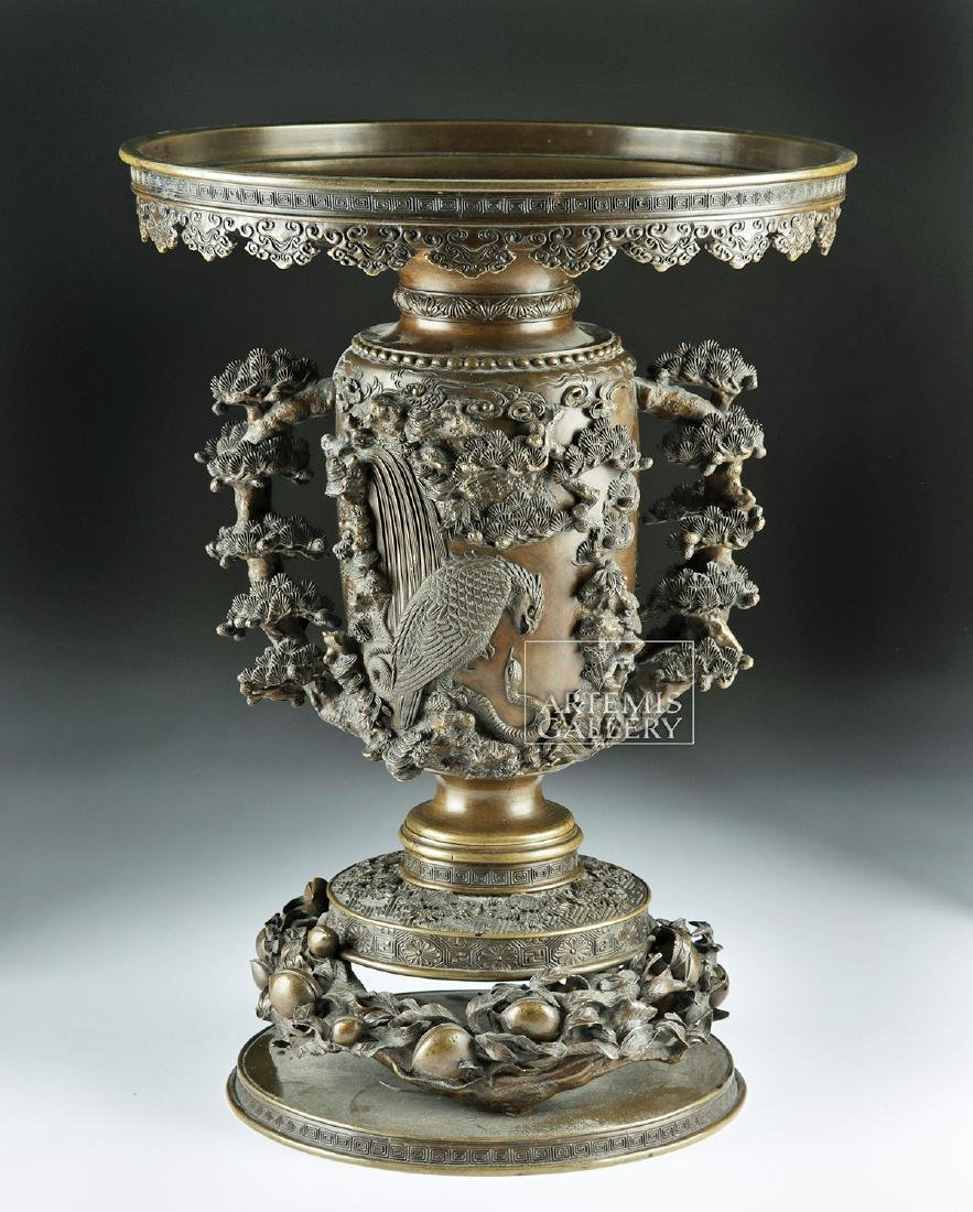 Early 20th C. Japanese Bronze Vase - Nature Motifs