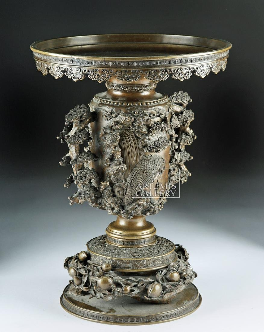 Early 20th C. Japanese Bronze Vase - Nature Motifs - 3