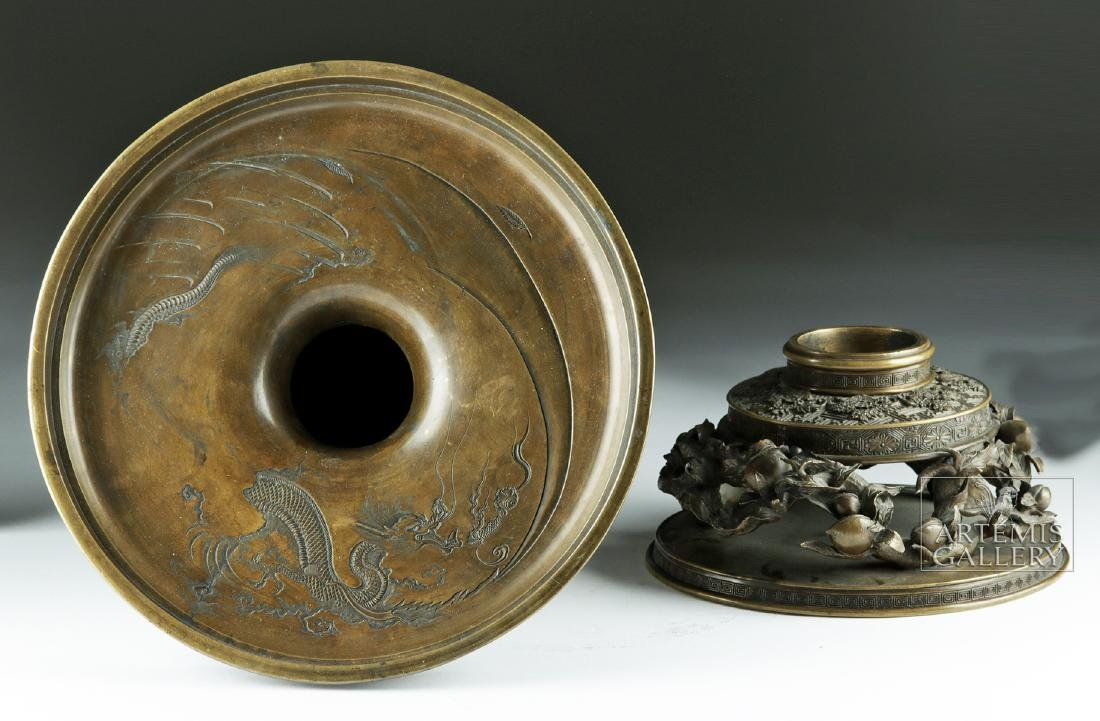 Early 20th C. Japanese Bronze Vase - Nature Motifs - 6