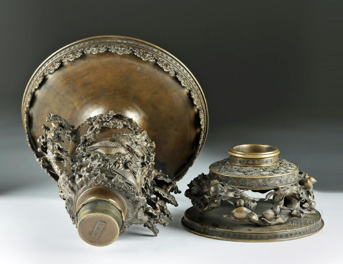 Early 20th C. Japanese Bronze Vase - Nature Motifs - 7