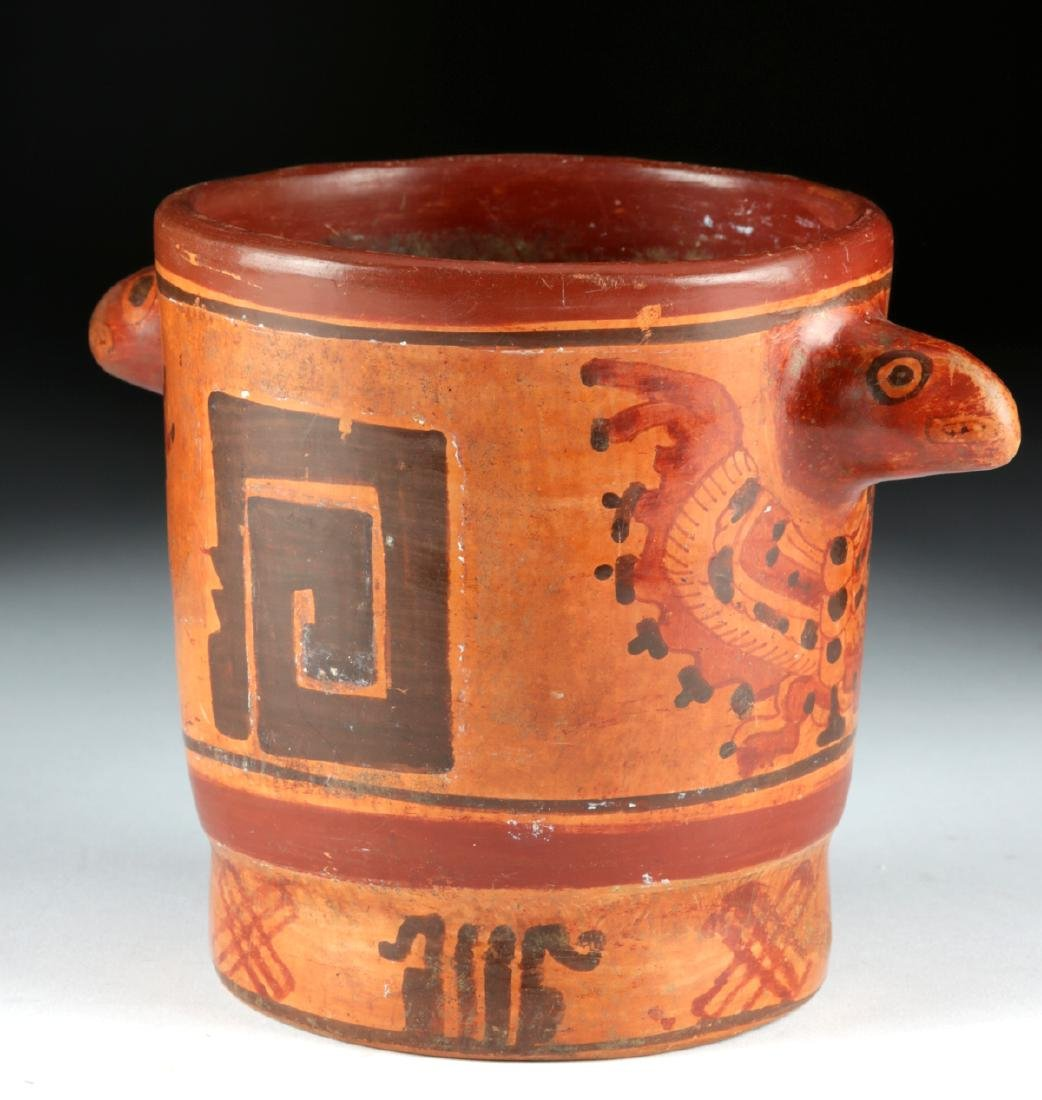 Mayan Polychrome Cylinder Vessel - Turkey Heads