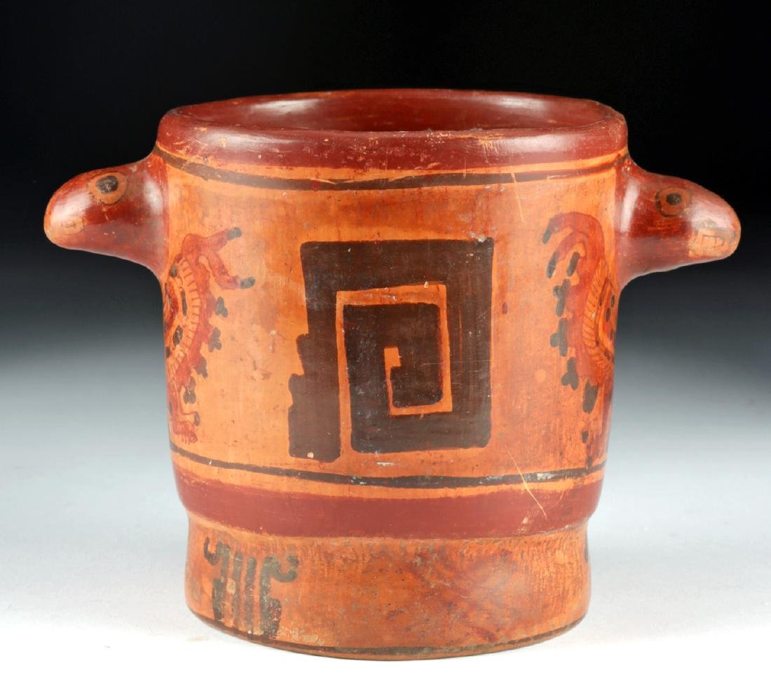 Mayan Polychrome Cylinder Vessel - Turkey Heads - 2