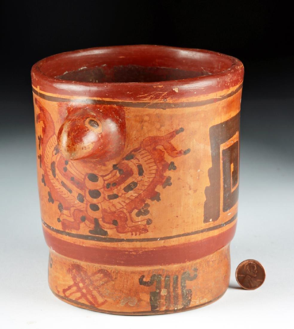 Mayan Polychrome Cylinder Vessel - Turkey Heads - 3