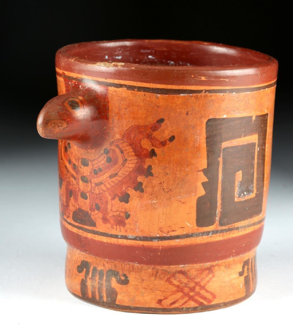 Mayan Polychrome Cylinder Vessel - Turkey Heads - 4
