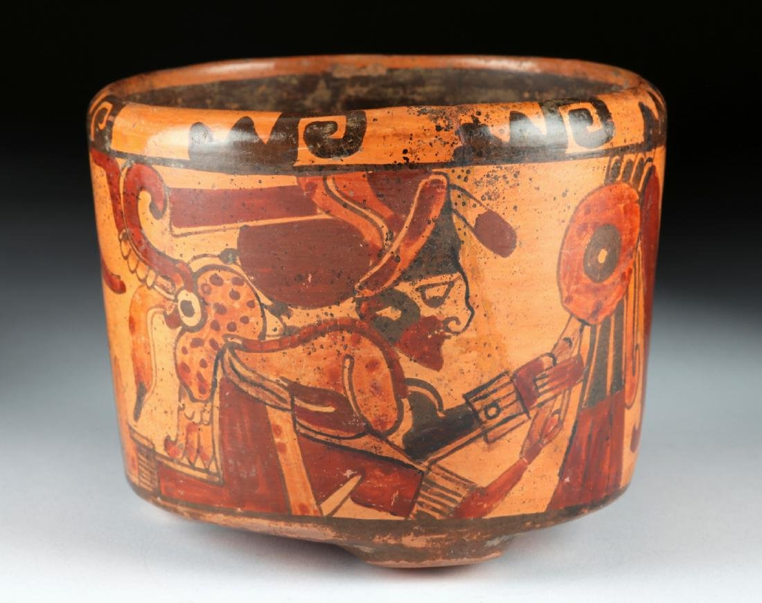 Mayan Ulua Valley Polychrome Tripod Vessel