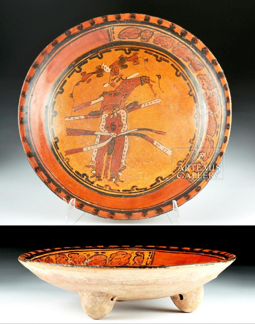 Mayan Polychrome Tripod Plate - Dancing Priest