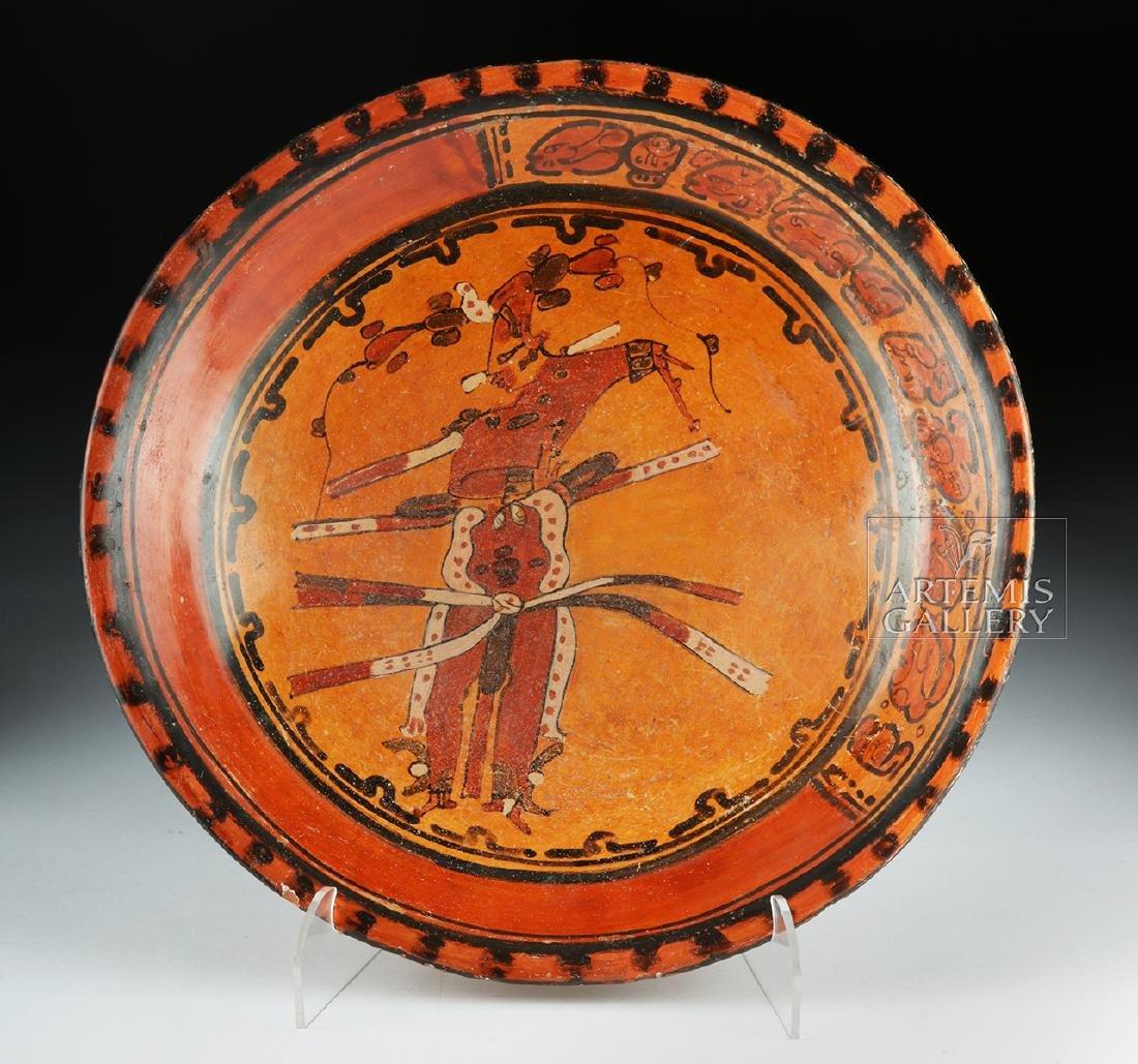 Mayan Polychrome Tripod Plate - Dancing Priest - 6