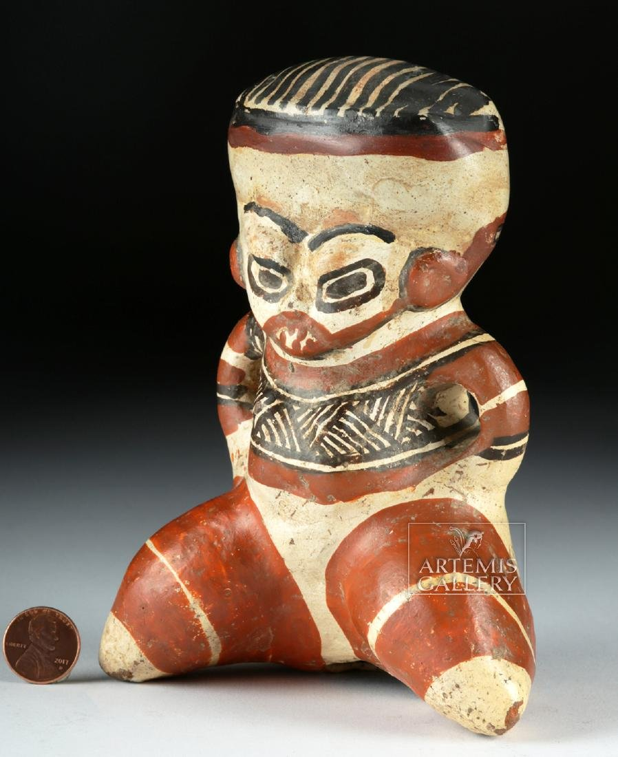 Costa Rican Polychrome Figure - Seated Effigy