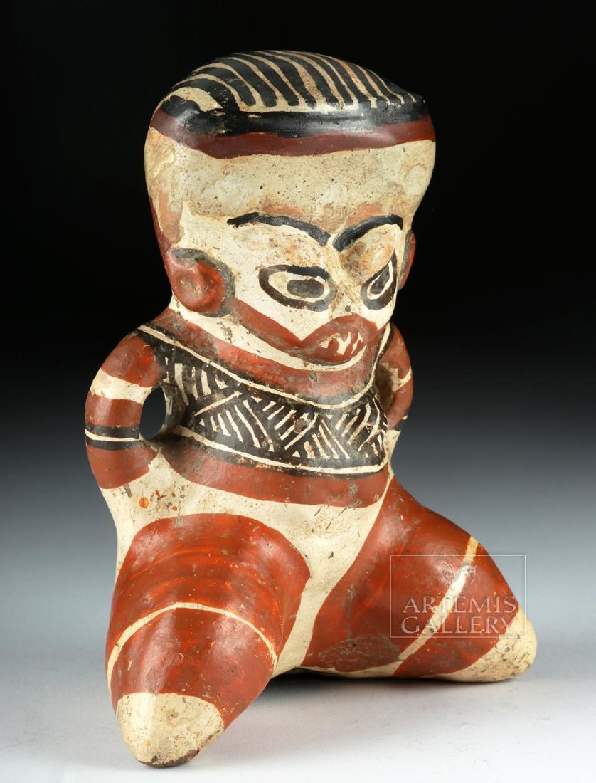 Costa Rican Polychrome Figure - Seated Effigy - 3