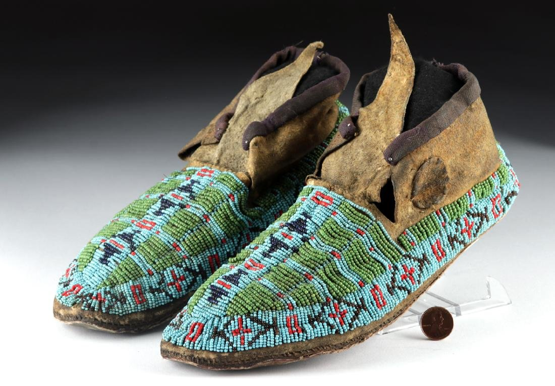 20th C. Native American Beaded Leather Moccasins