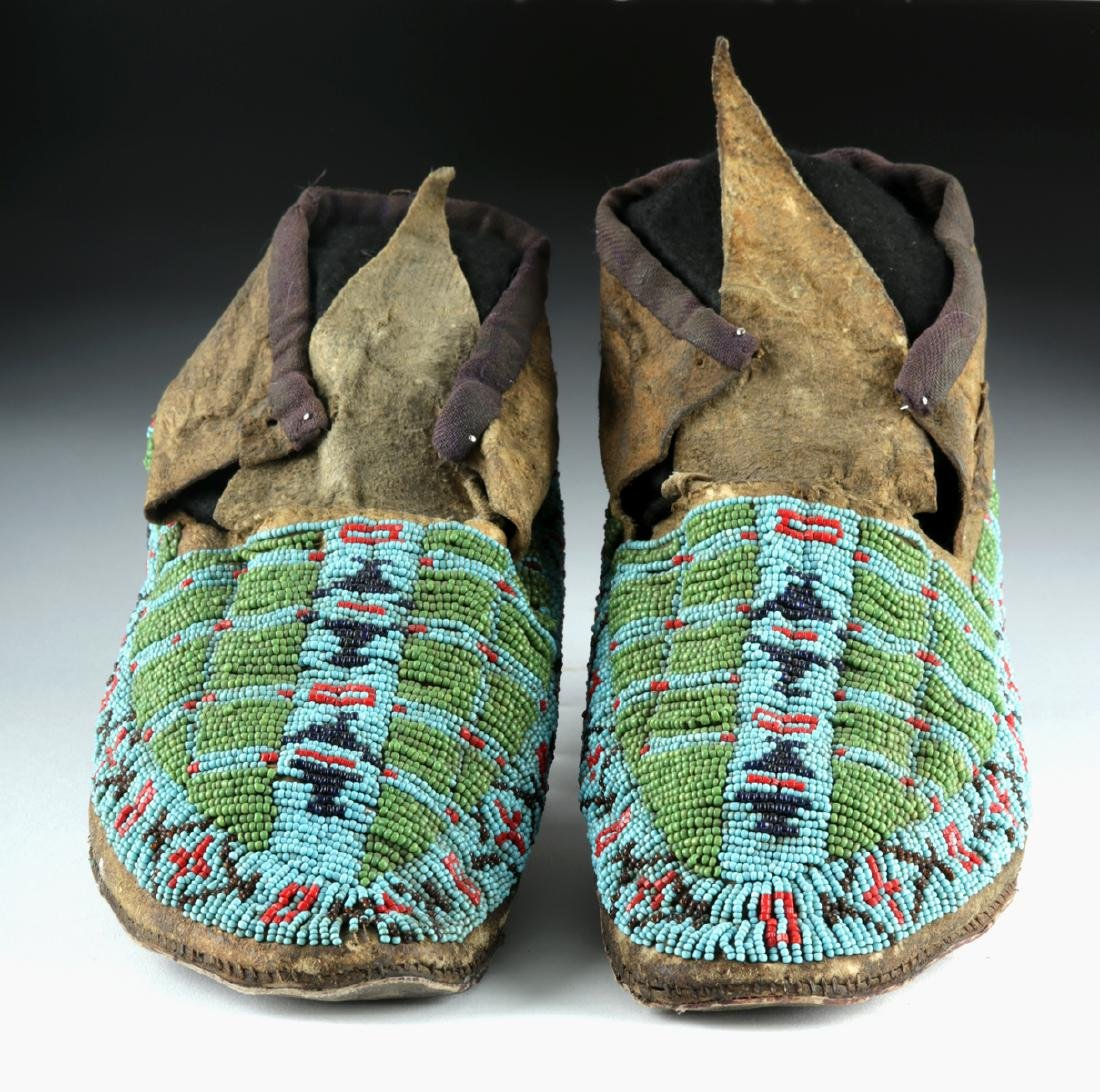 20th C. Native American Beaded Leather Moccasins - 2