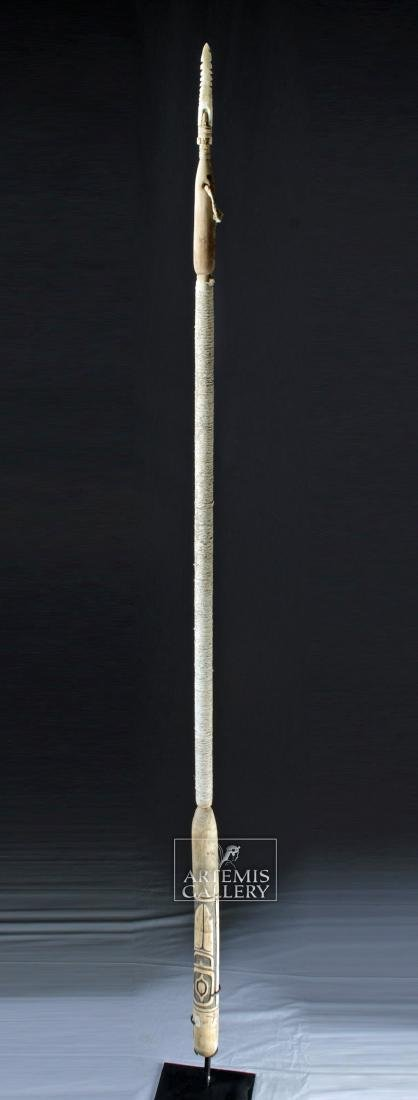 20th C. Inuit Wood Harpoon w/ Bone Tip