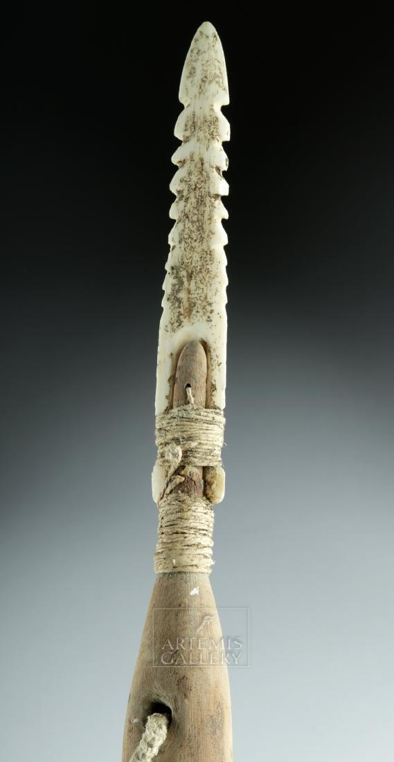 20th C. Inuit Wood Harpoon w/ Bone Tip - 4
