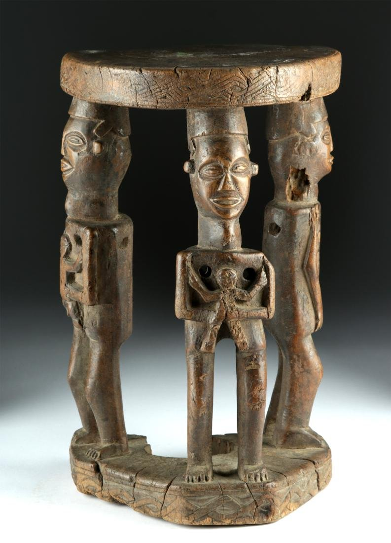 20th C. African Zela Wood Stool w/ Human Figures