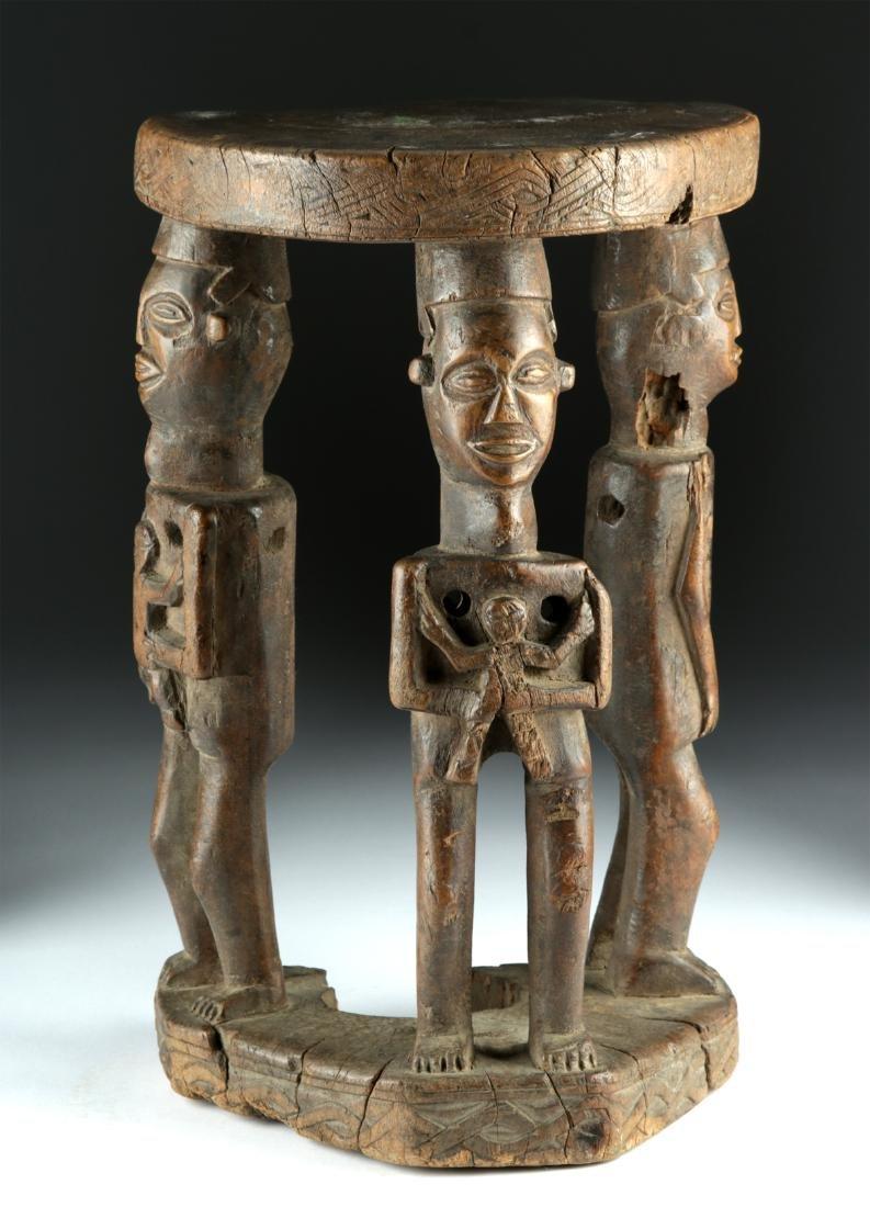 20th C. African Zela Wood Stool w/ Human Figures