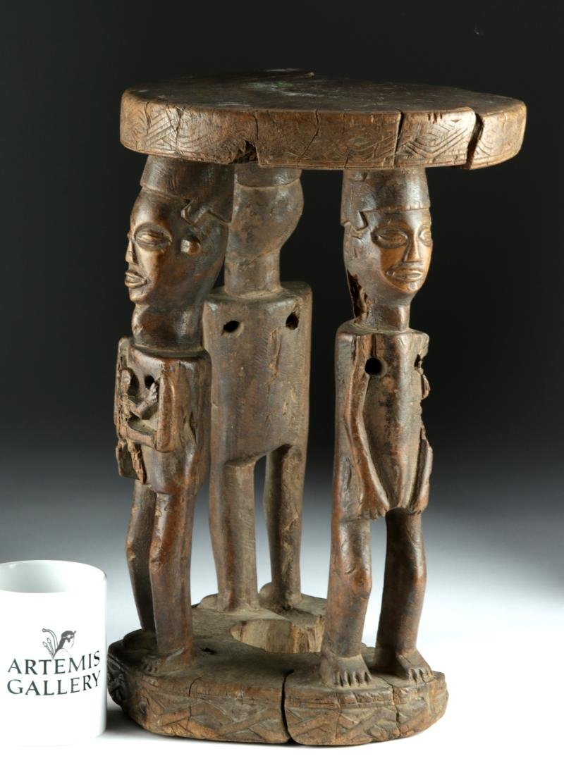 20th C. African Zela Wood Stool w/ Human Figures - 2