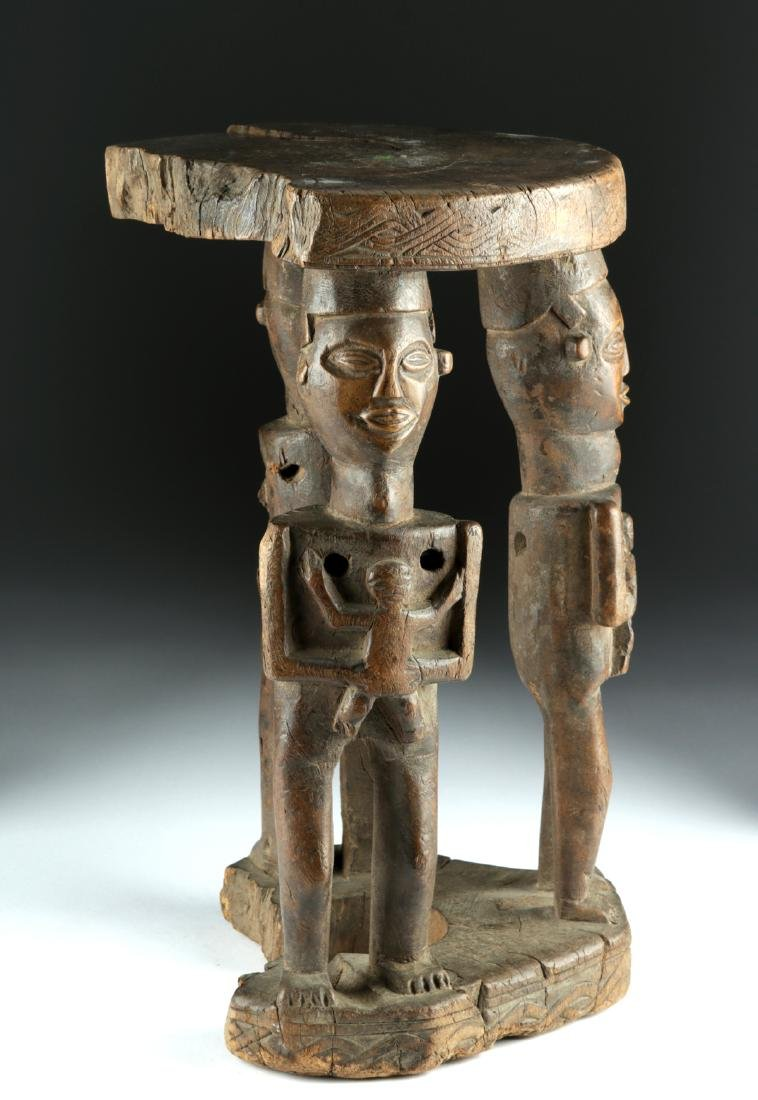20th C. African Zela Wood Stool w/ Human Figures - 3