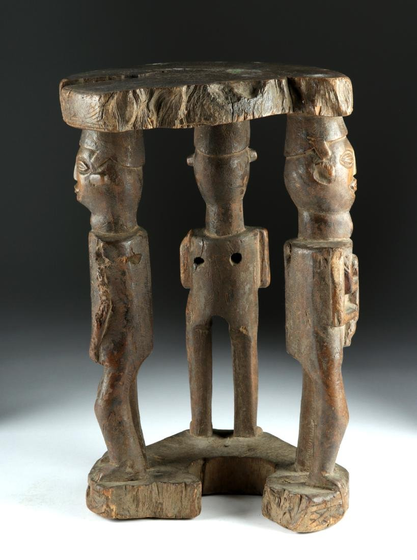 20th C. African Zela Wood Stool w/ Human Figures - 4