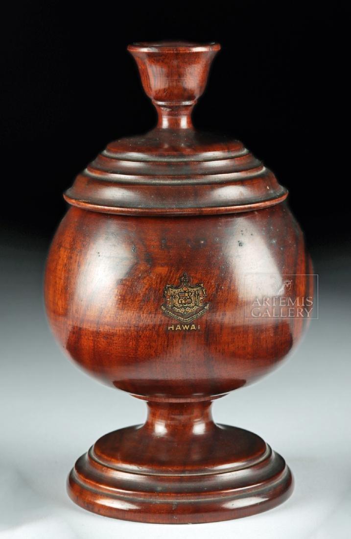 19th C. Hawaiian Koa Wood Lidded Jar, Coat of Arms