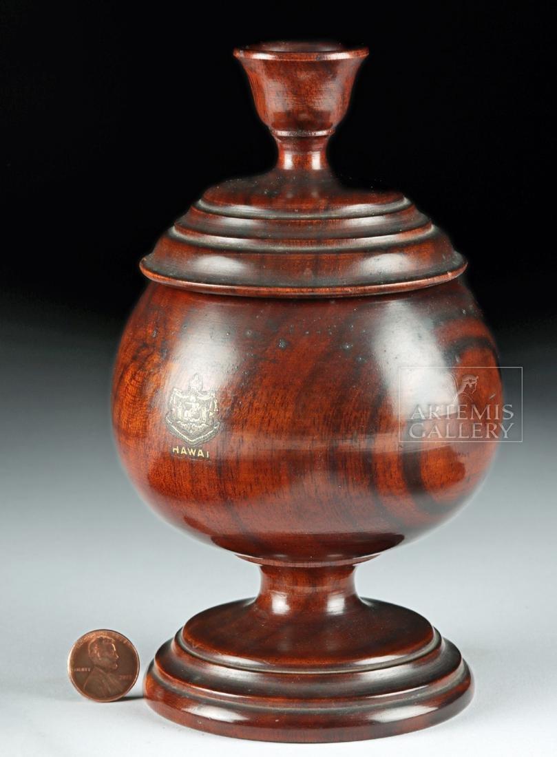 19th C. Hawaiian Koa Wood Lidded Jar, Coat of Arms - 2