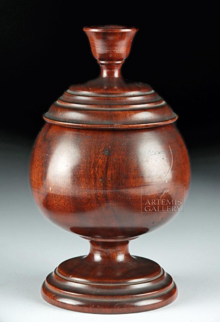 19th C. Hawaiian Koa Wood Lidded Jar, Coat of Arms - 3