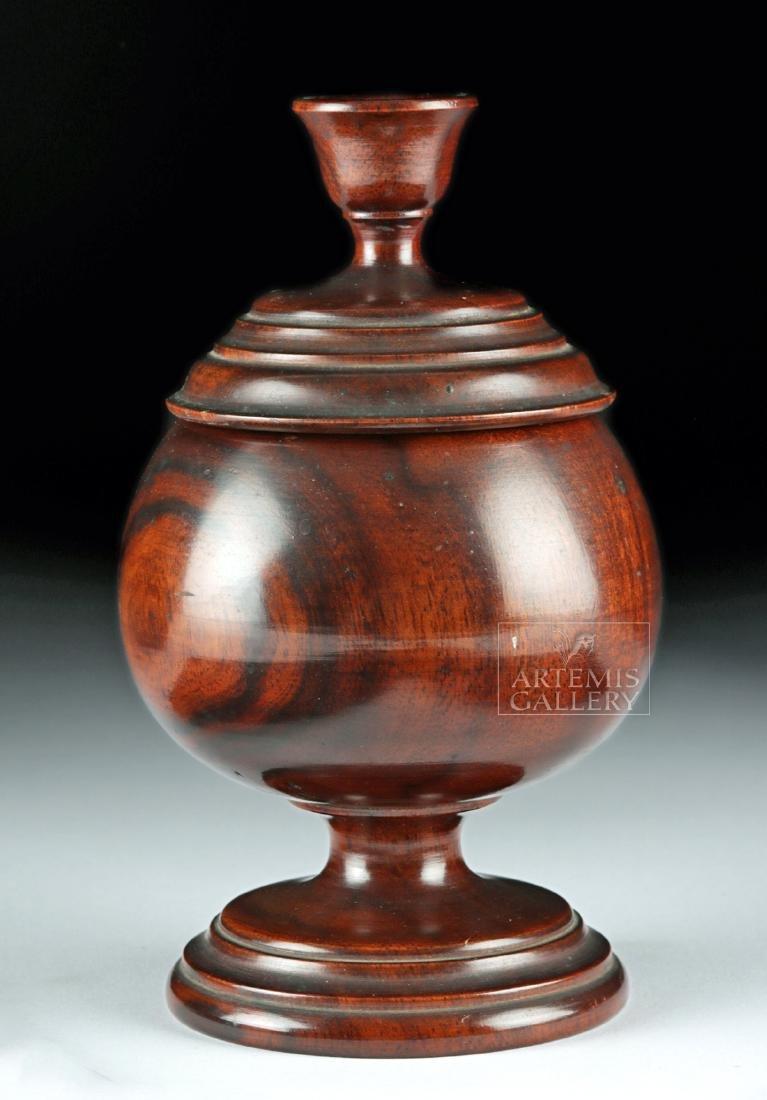 19th C. Hawaiian Koa Wood Lidded Jar, Coat of Arms - 4
