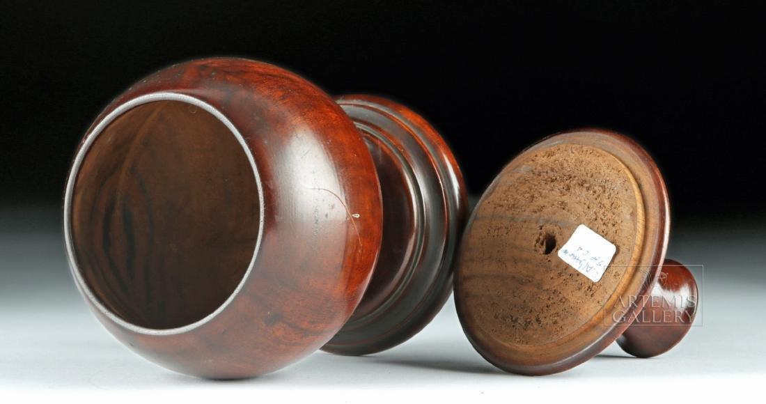 19th C. Hawaiian Koa Wood Lidded Jar, Coat of Arms - 5
