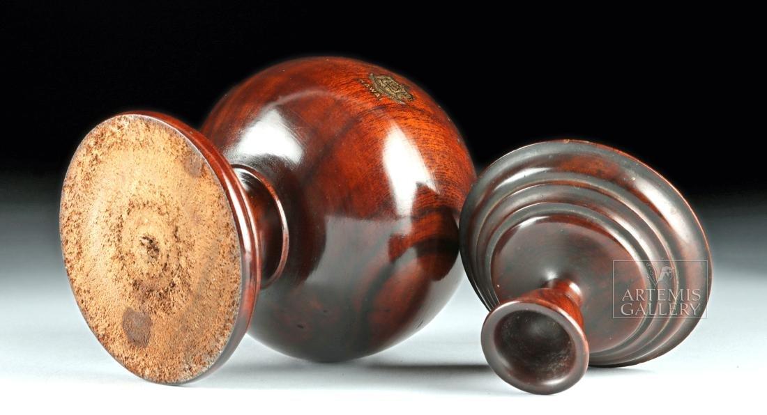 19th C. Hawaiian Koa Wood Lidded Jar, Coat of Arms - 6