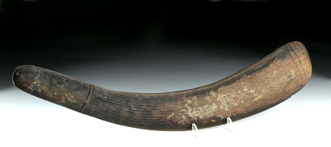 19th C. Aboriginal Wood Throwing Stick / Boomerang - 2