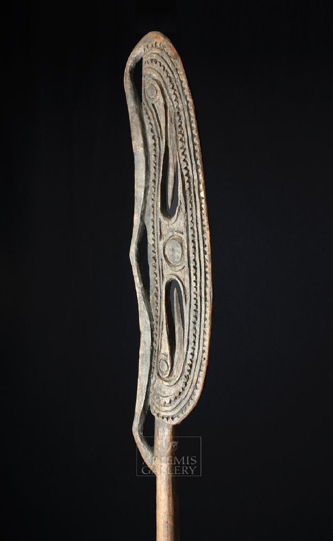20th C. PNG Sepik River Wooden Canoe Paddle - 5