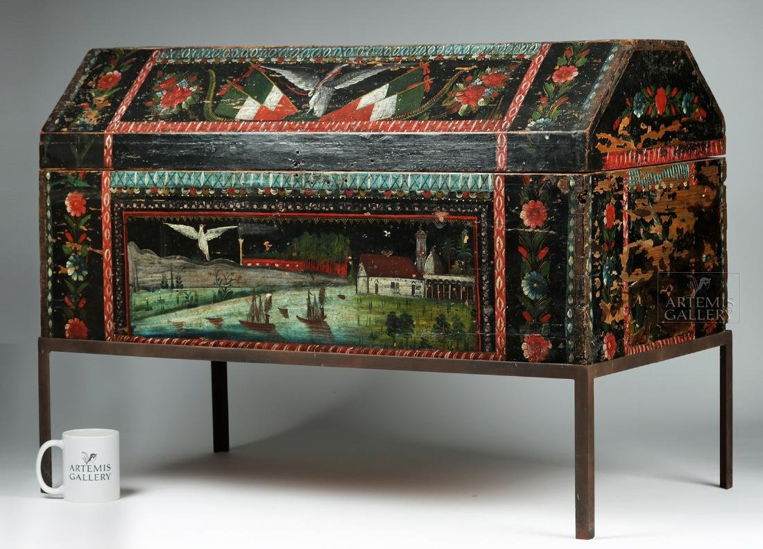 19th C. Spanish Colonial Chest Painted Birds & Flowers