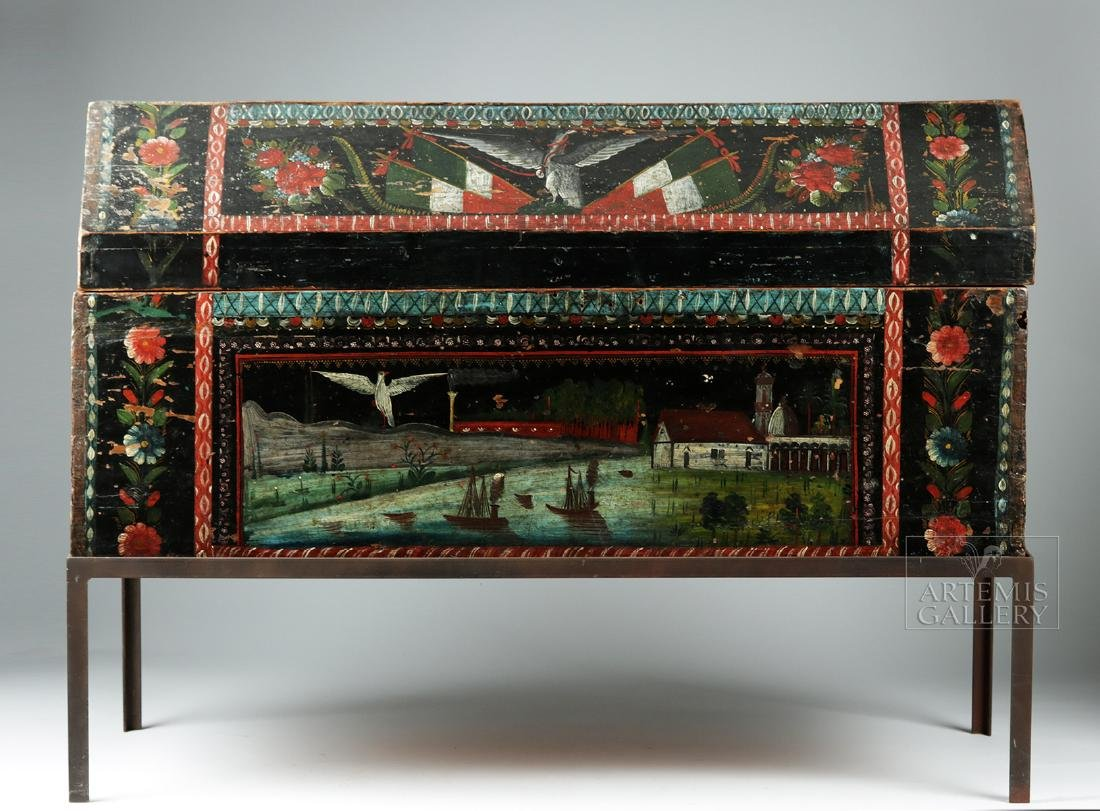 19th C. Spanish Colonial Chest Painted Birds & Flowers - 2