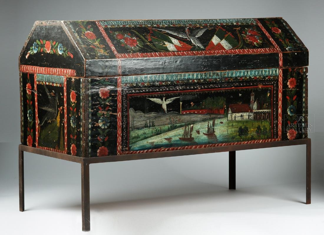 19th C. Spanish Colonial Chest Painted Birds & Flowers - 3