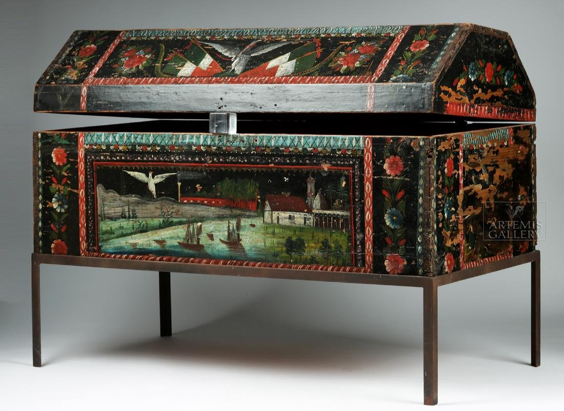 19th C. Spanish Colonial Chest Painted Birds & Flowers - 4