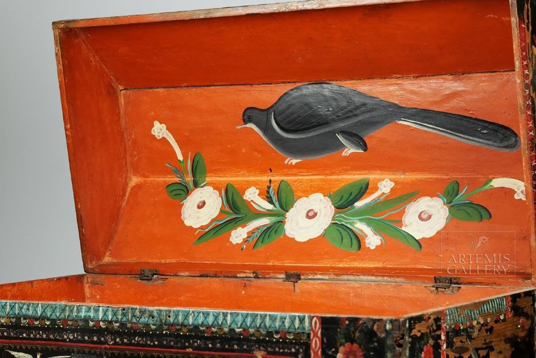 19th C. Spanish Colonial Chest Painted Birds & Flowers - 5